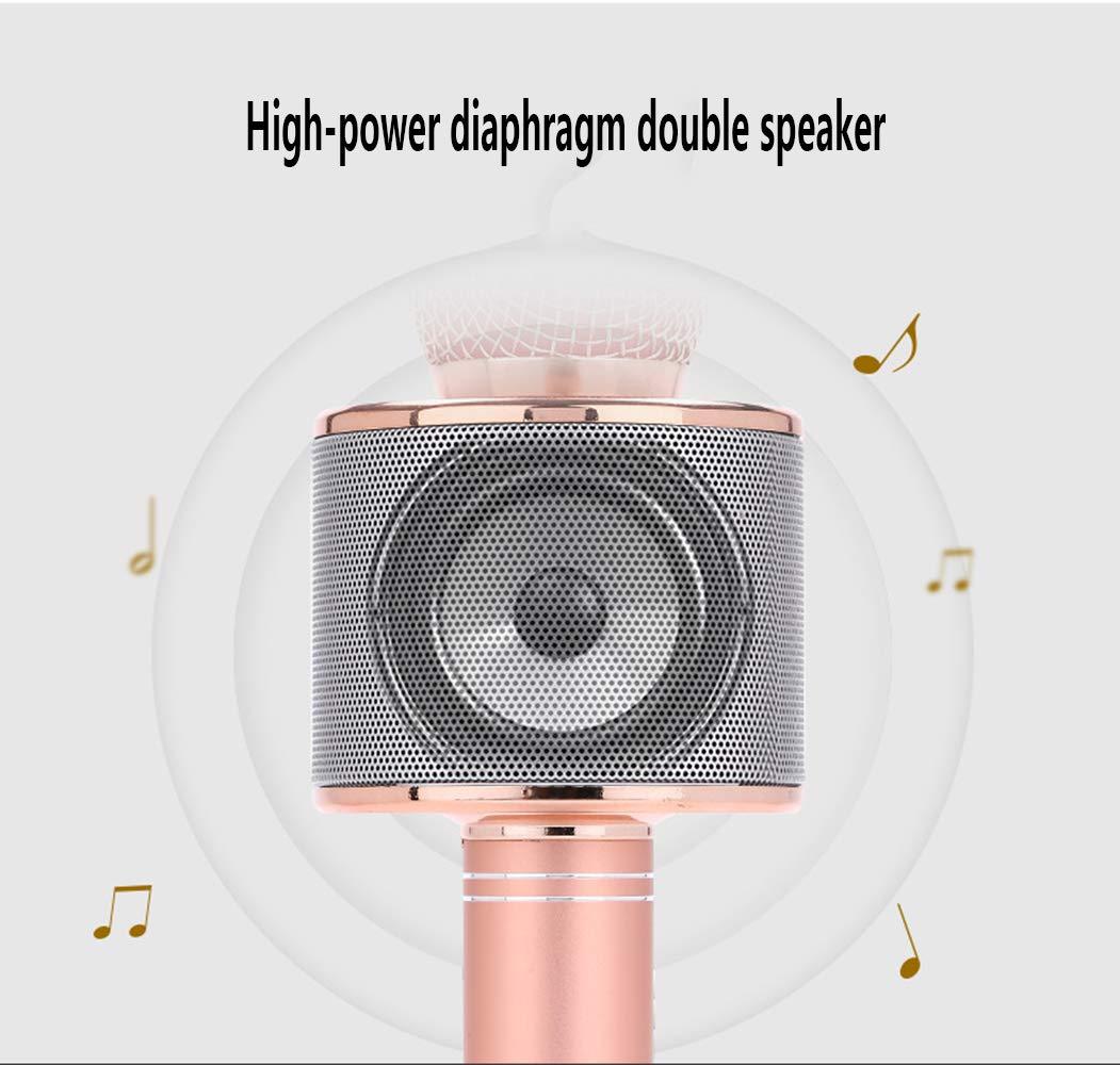 Calidad de audio superior para cantar y grabar DXAI Bluetooth 4.1 Karaoke Micr/ófono Compatible con Android y iOS el Hogar KTV Port/átil Inal/ámbrica Micr/ófono y Altavoz del Karaoke Negro