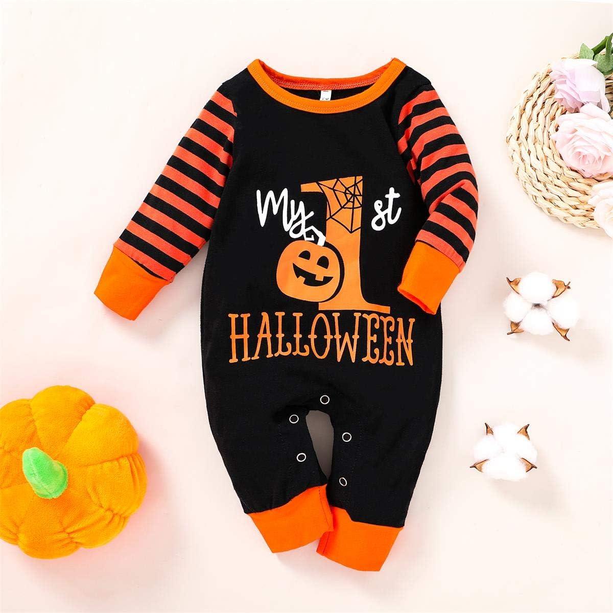 Infant Baby Halloween//Thanksgiving Outfits Stripe Pumpkin Pajamas Bodysuit Fall Onesies for Boys Girls Pajamas Clothing Set
