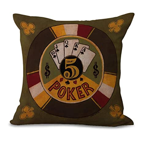 Cushion Cover Retro Playing Cards Poker Cards Series Brown ...