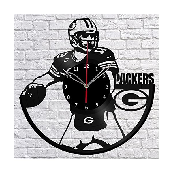 Handmade Green Bay Packers Vinyl Record Wall Clock Fan Art Decor Original Gift Unique Decorative Vinyl Clock Black 12 30 Cm Packer Fan Cave