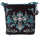 HW Collection Western Rhinestone Cross Colored Doves Concealed Carry Crossbody Handbag Purse (Turquoise)