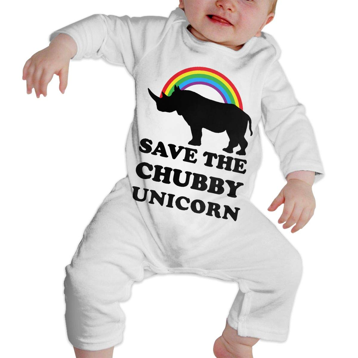 Save The Chubby Unicorns Unisex Long Sleeve Baby Gown Baby Bodysuit Unionsuit Footed Pajamas Romper Jumpsuit