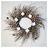 20″ Berry Wreath with Six Cotton Bolls – Artificial Rustic Round Twig Ivory Garland Gift Fireplace Wall Decoration Indoor Outdoor Floral Decor Review