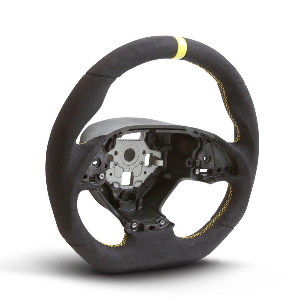 Handkraftd 2014+ Chevrolet Corvette C7 Steering Wheel - Alcantara/Yellow Stitch