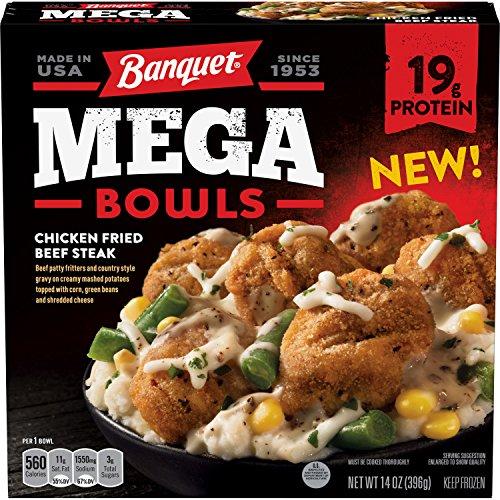 (Banquet Mega Bowls Chicken Fried Beef Steak Frozen Dinner, 14 Ounce)