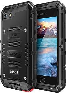 Beasyjoy iPhone 6/6s Metal Case Heavy Duty Waterproof Case Screen Full Body Military Grade Rugged Cover Drop Proof Shockproof Defender Black