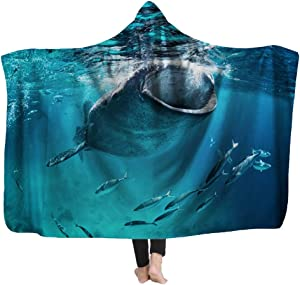 Capsceoll Kids' Blankets and Throw Blanket,Whale Shark Eating The Surface Fish 80X60 Inches Fleece Plush for Girls Boys Kids Blanket for Home