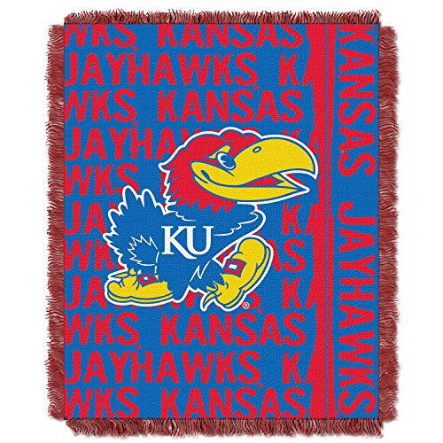 "The Northwest Company NCAA Kansas Jayhawks OFFICIAL College 48""x60"" Triple Woven Jacquard Throw – Double Play Series by The Northwest Company"