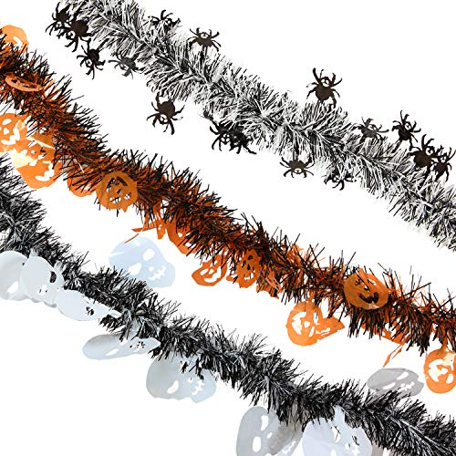 Treasures Gifted Halloween Garland Haunted House Decorations Orange and Black Horror Party Supplies Retro Cute Skull Decor Holiday Table Mantle Doorway Tinsel Scary Props -