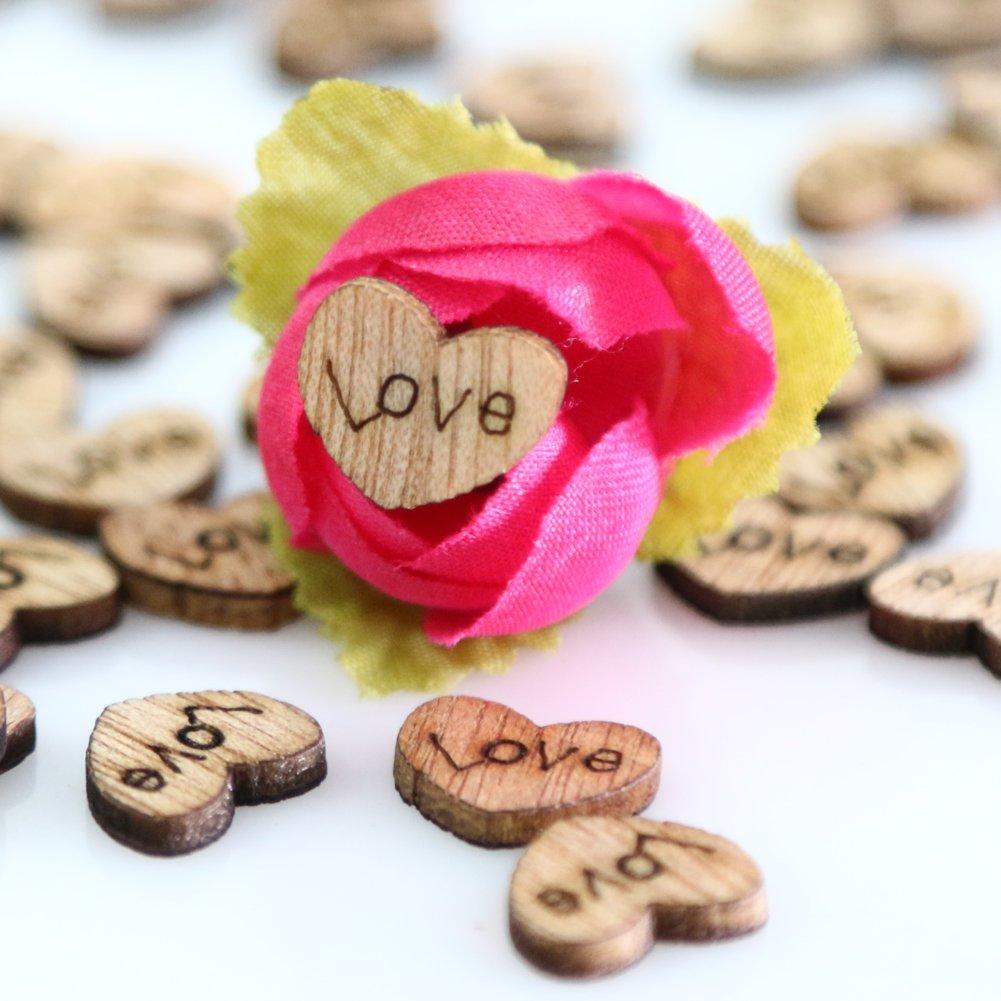 Prosperveil decorazioni rustiche per matrimoni bomboniere fai da te decorazioni natalizie Red 100 pezzi in legno a forma di cuore
