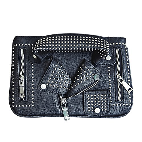 Motorcycle Crossbody Leather Bag Women's PU Jacket Satchel QZUnique Handbag Shouldbag Rivet Rivet Black wfqcB