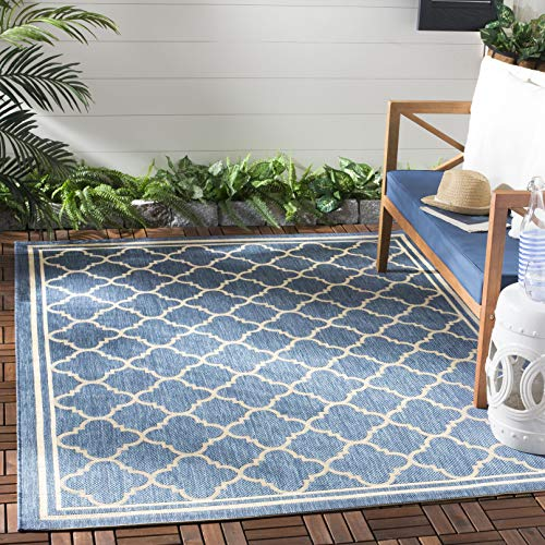 Safavieh Courtyard Collection CY6918-243 Blue and Beige Indoor/ Outdoor Area Rug (5'3