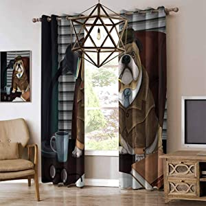 RenteriaDecor English Bulldog Couple Bedroom Curtains Traditional English Detective Dog with a Pipe and Hat Sherlock Holmes Image Energy Efficient Grommet Curtain Panel Multicolor W96 x L96 Inch