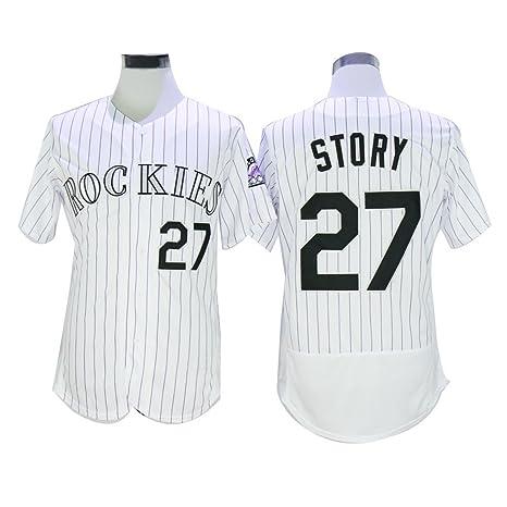 Para hombre # 27 historia camisetas de béisbol Jersey cosido blanco & gris & morado,