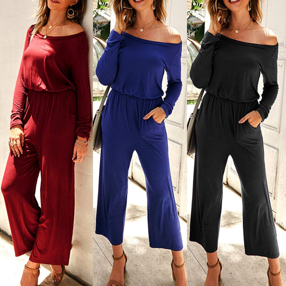 Women\'s Black Jumpsuit - One Off Shoulder Long Sleeve Casual Wide Leg Jumpsuit Romper with Pockets M