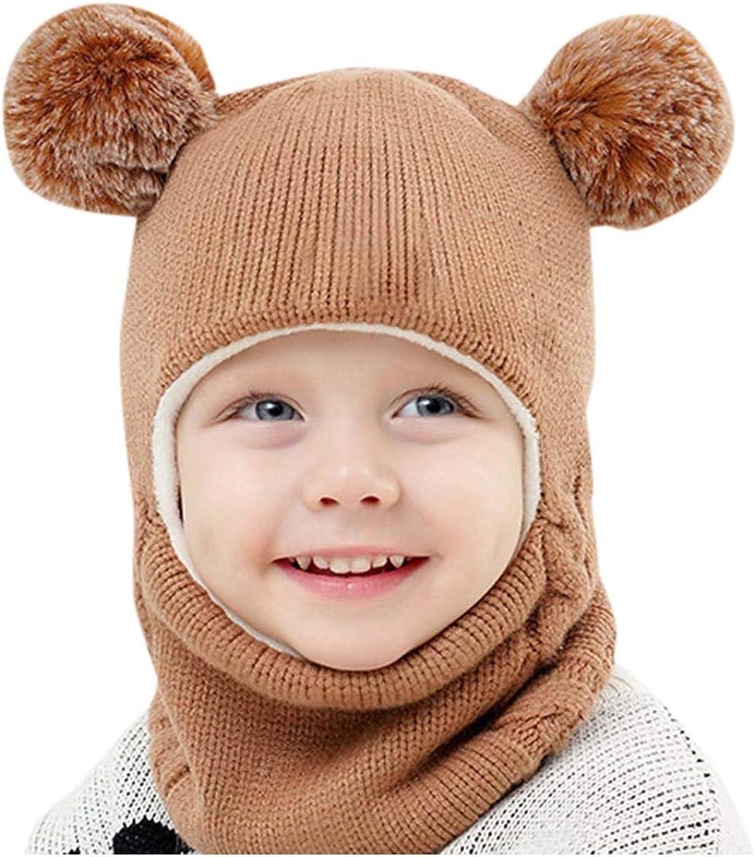 Toddler Baby Kids Boy Girls Warm Knitted Beanie Cap Winter Hat Scarf Set Earflap