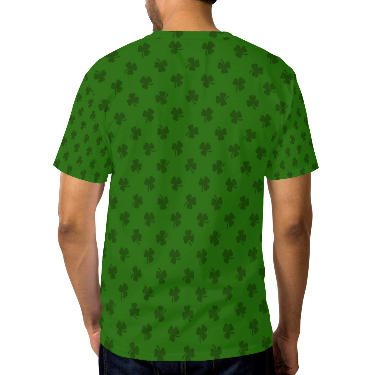 Green St Patricks Day Clover Leaves Mens T Shirts Graphic Funny Body Print Short T-Shirt Unisex Pullover Blouse