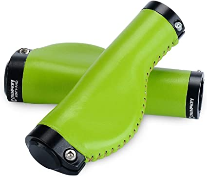Champkey Ergonomics Comfort Design Genuine leather Bicycle Handlebar Grips 1 Pair with Soft Material Cycling Grip