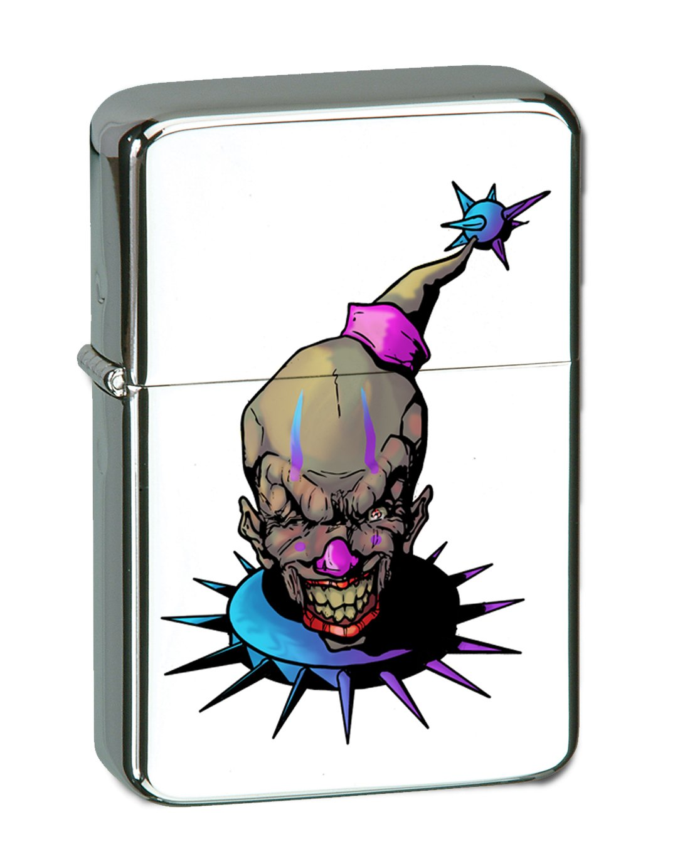 Purple and Blue Fun, Frightening, and Evil Clown Vector KGM Thunderbird Vintage Lighter - High Polish Chrome Finish