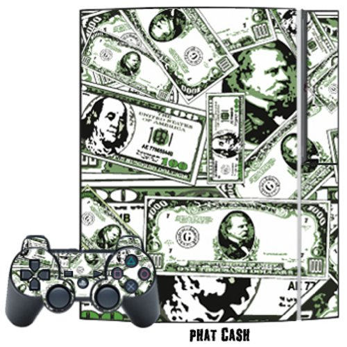 Mightyskins Protective Skin Decal Cover Sticker for Playstation 3 Console + two PS3 Controllers - Phat Cash
