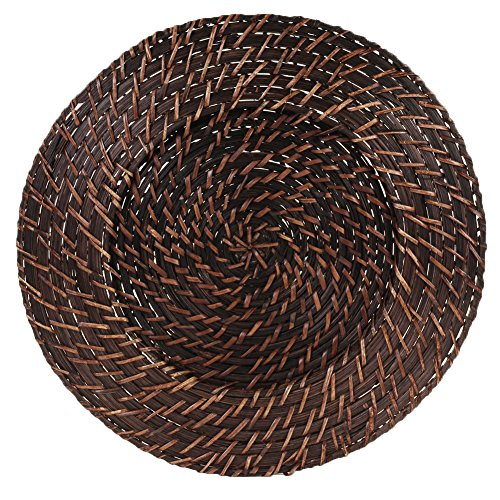 (Koyal Wholesale Round Rattan Charger Plates, Dark Brown, Set of 24)