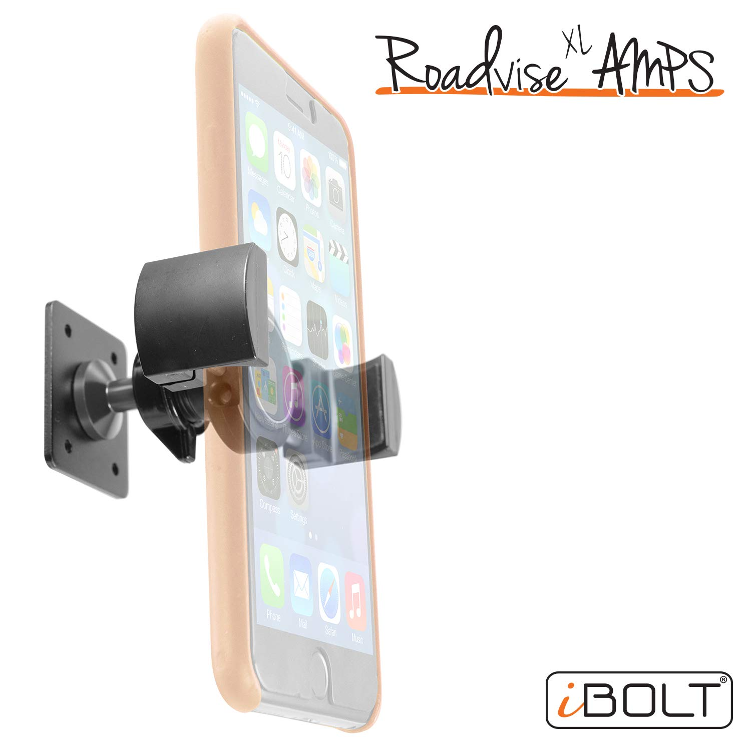 iBOLT Roadvise XL AMPS Heavy Duty Metal Drill Base AMPS Mount for Smartphones, Midsize Tablets, Nintendo Switch from 2.75 inches to 5 inches Wide- Great for Trucks, Wall mounting, Commercial Vehicles