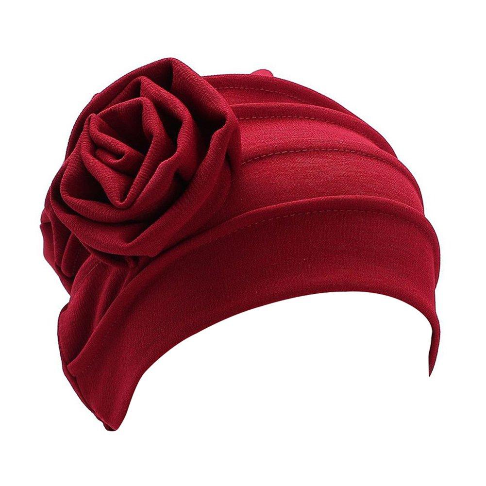 ZHOUBA Pleated Floral Muslim Hijab Cap Stretch Chemo Turban Hat/Womens Head Scarf