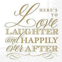 """Boston International IHR - Servilletas de papel para bebidas (12,7 x 12,7 cm), diseño de texto""""Love And Laughter"""""""