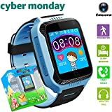 Kids Smart Watch with GPS Tracker, Camera Games Flash Night Light Touch Anti-lost Alarm Smart Watch Bracelet Christmas Gift for Girls Boys Compatible with iPhone Android (001 G3S Blue with step count)
