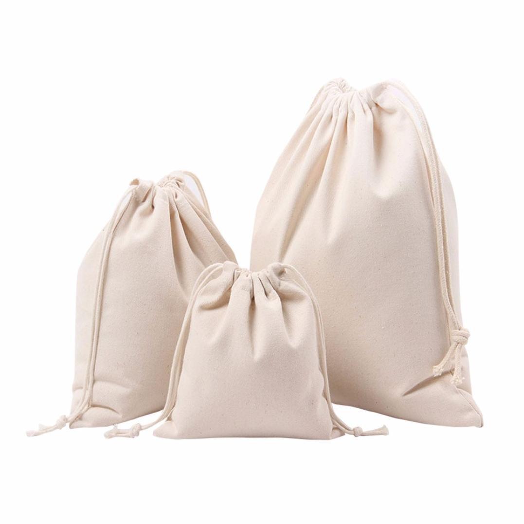 Inverlee Women Solid White Drawstring Beam Port Shopping Bag Travel Bag Gift Bag (M, White)