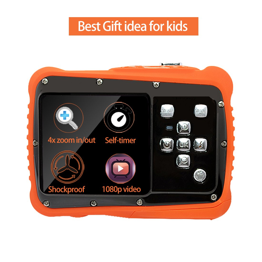 Underwater Action Digital Camera Camcorder for Kids, waterproof 3M/9.8ft, 5 MP CMOS 12MP 1080p, Orange by Oikkei (Image #2)