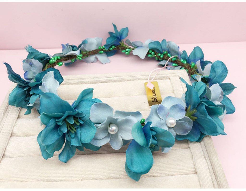 Wreath Flower, Headband Flower Garland Handmade Wedding Bride Party Ribbon Headband Wristband Hairband Purple/White (Color : D)