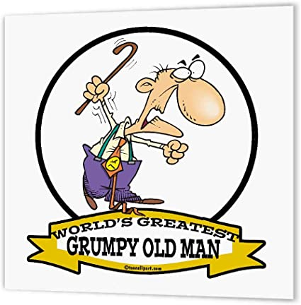 Amazon.com: 3dRose ht_103238_2 Funny Worlds Greatest Grumpy Old Man Cartoon-Iron  on Heat Transfer for White Material, 6 by 6-Inch