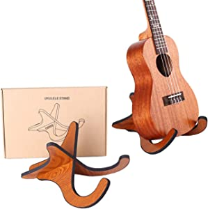 TIHOOD Wooden Ukelele Stand Holder Musical Instrument Stand Concert Portable Wood Stand for Small Guitar, Violin, Banjo (Brown)