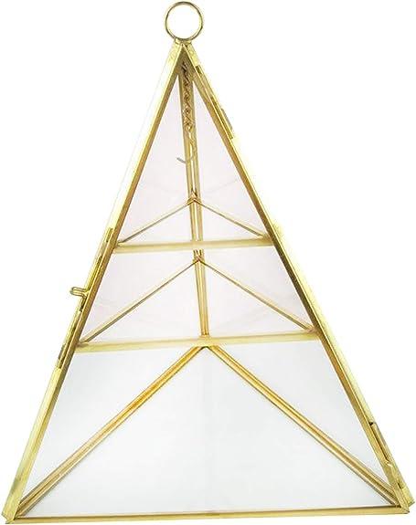 customizable measures handmade glass display stained glass geometric box one shelf Pyramid Jewelry glass display jewelry box