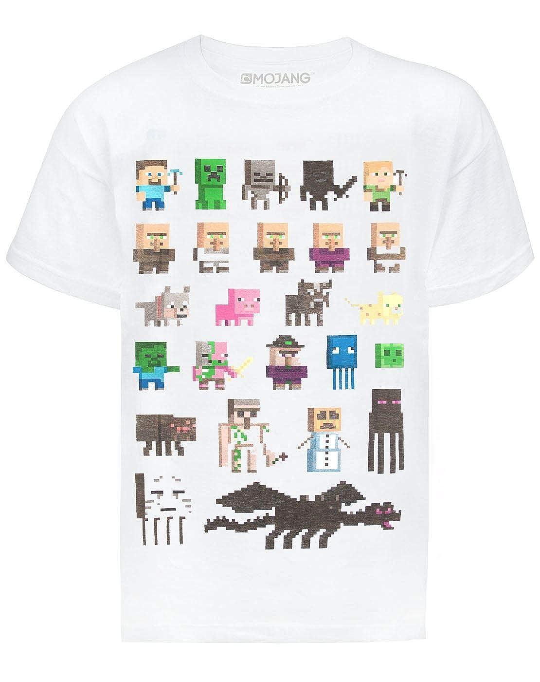 Minecraft Sprites Boys White T-Shirt Fashion UK