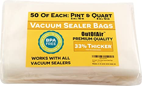 100 Vacuum Sealer Bags: 50 Pint (6