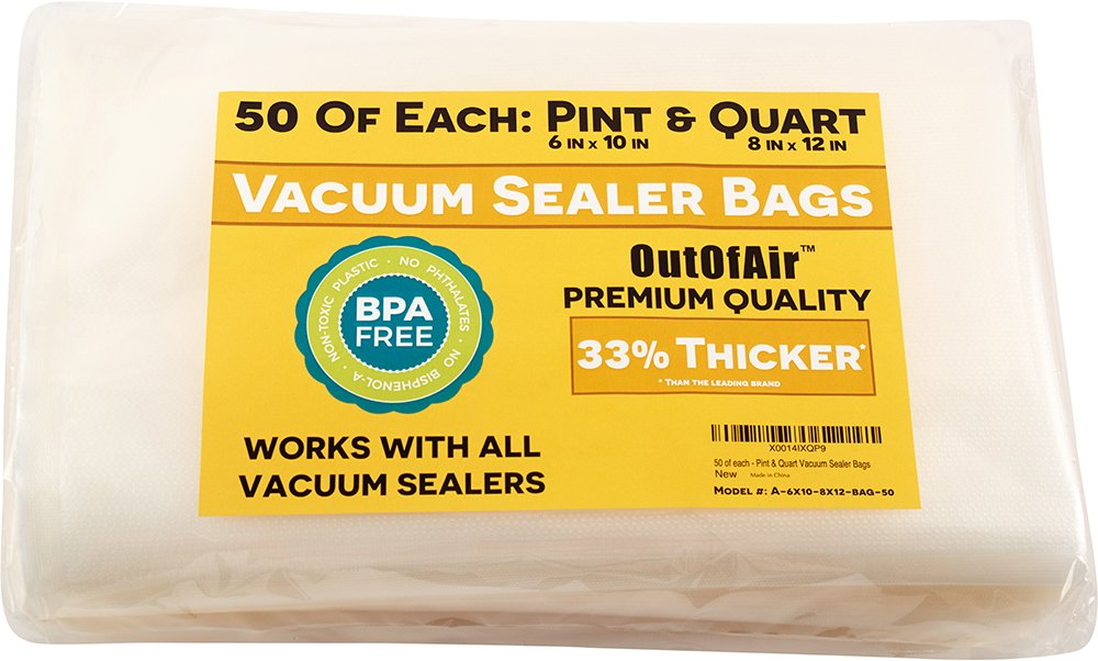 100 Vacuum Sealer Bags: 50 Pint (6'' x 10'') and 50 Quart (8'' x 12'') OutOfAir Vacuum Sealer Bags for Foodsaver and Other Savers. 33% Thicker than Others, BPA Free, FDA Approved, Great for Sous Vide