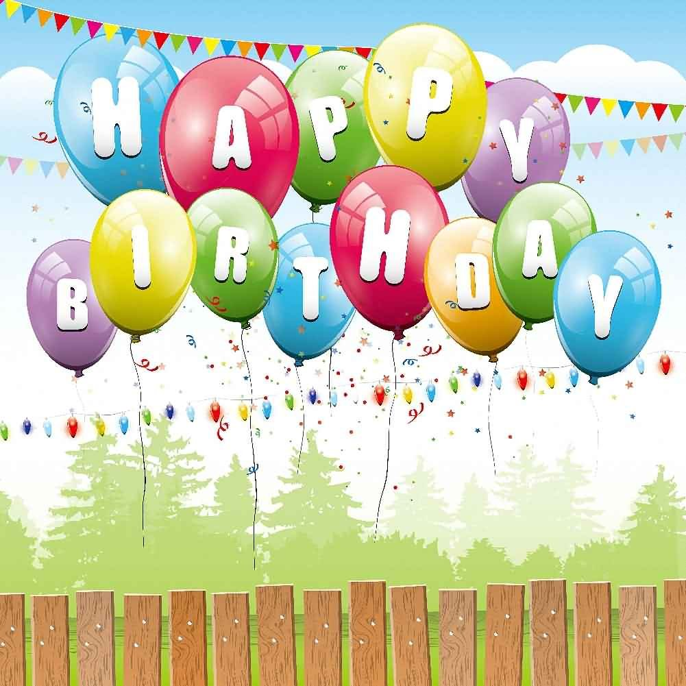 GladsBuy Colored Balloons 10' x 10' Digital Printed Photography Backdrop Fence and Pillars Theme Background YHA-532