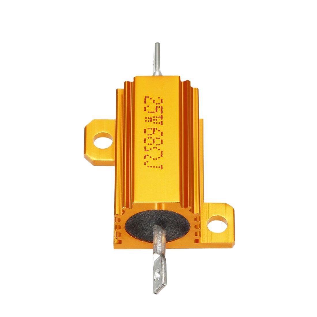 sourcingmap 25W 12 Ohm 5/% Aluminum Housing Resistor Screw Tap Mounted Aluminum Case Wirewound ResistorGold Tone RX24 25W12RJ 2 pcs