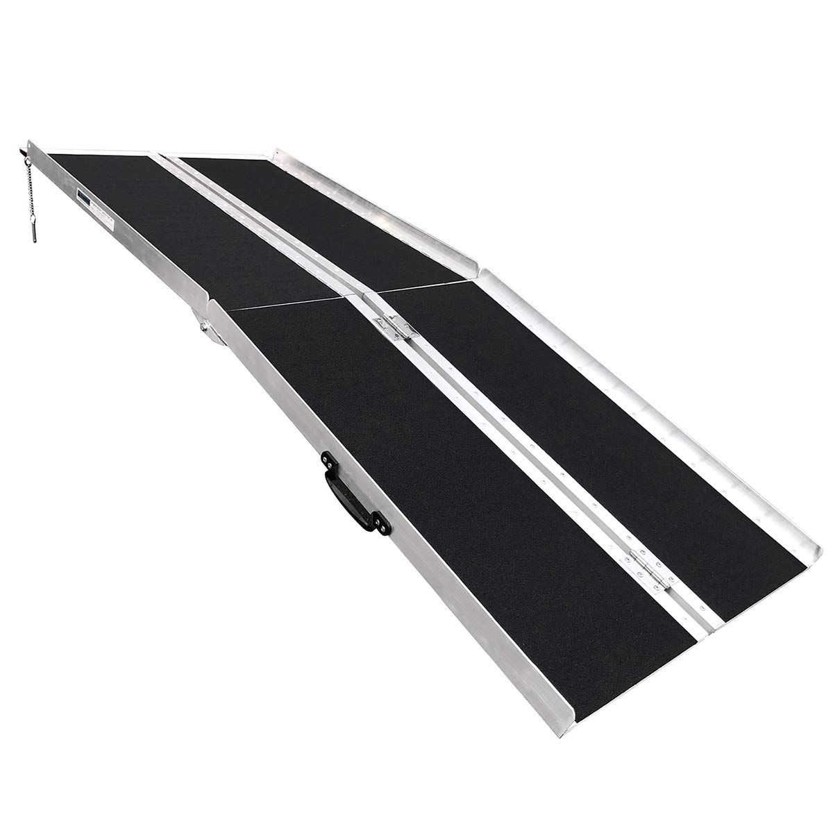 Clevr 6' (72'' X 31'') Non-Skid Aluminum Wheelchair Loading Traction Ramp, Lightweight Folding Portable, Single Fold Wheelchair Scooter Ramp, Extra Wide 31'', Holds up to 600 lbs