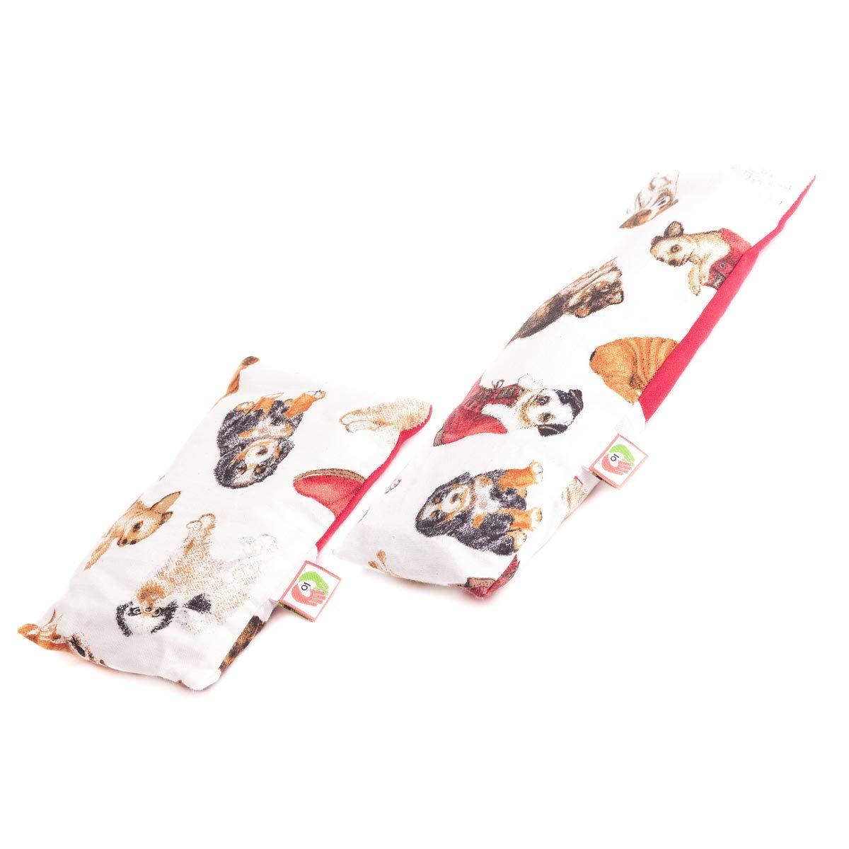 Pack dúo: cojín anticólicos de bebé (15x10cm) + saco térmico calienta cunas (25x10cm) Con funda para lavar, tela de algodón 100% y suave olor a ...