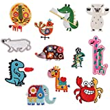 12pcs Lovely Animal Appliques for Kids Bear/Lion/Elephant/Giraffe/Dinosaur Iron on Patch for Crafts Jeans Clothing Sew on Dress Jacket Backpack Scarf Cushion Applique
