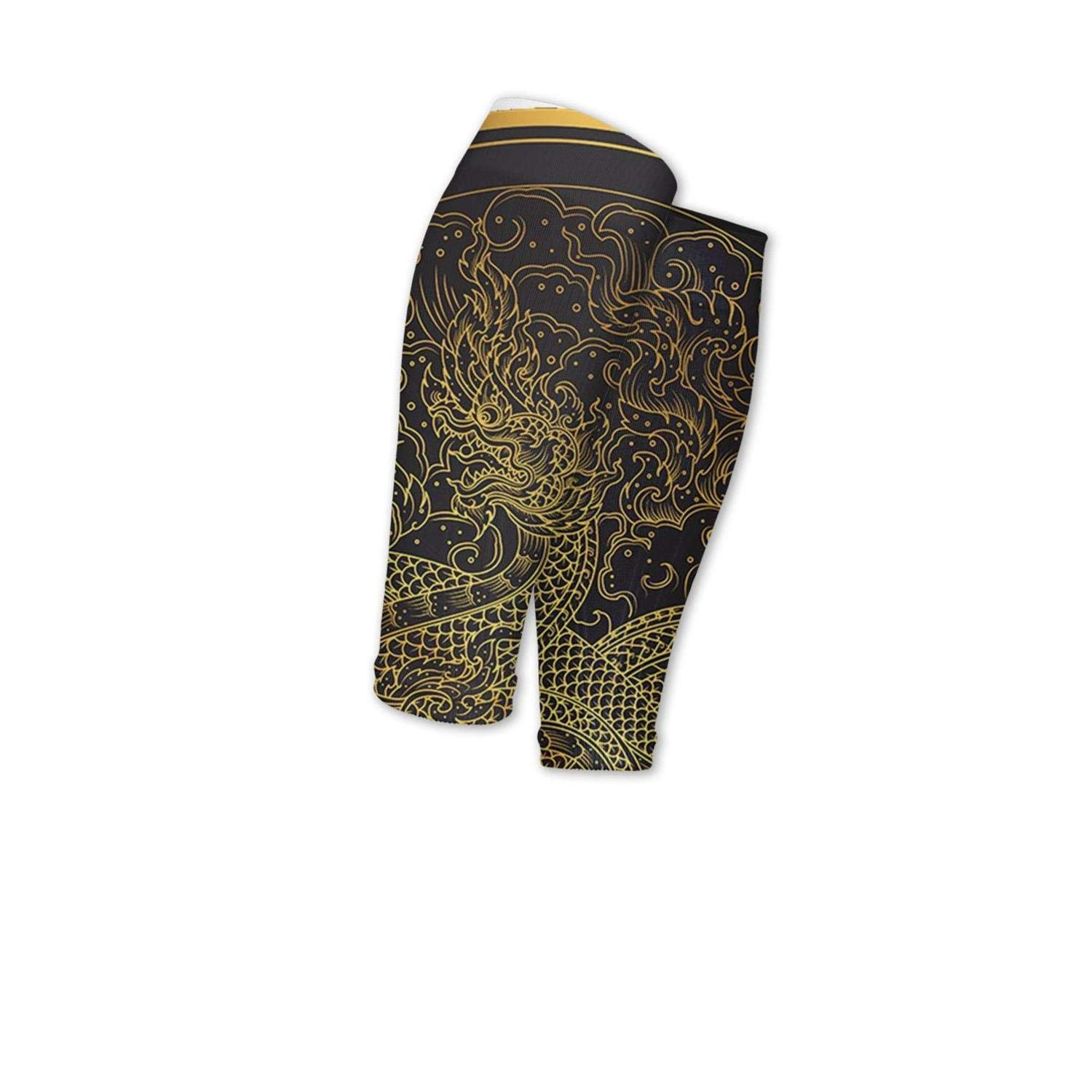 Smilelolly Golden Dragon Bohemian Psychedelic Animal Calf Compression Sleeves Helps Pain Relief Leg Sleeves for Men Women