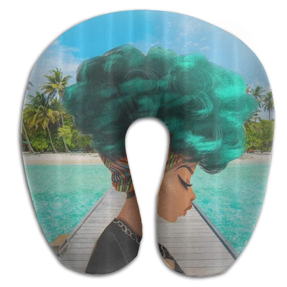 Yuerb Nackenhörnchen Memory Foam Neck Pillow,African American Woman with Green Hair Travel Pillow Seitenschläferkissen