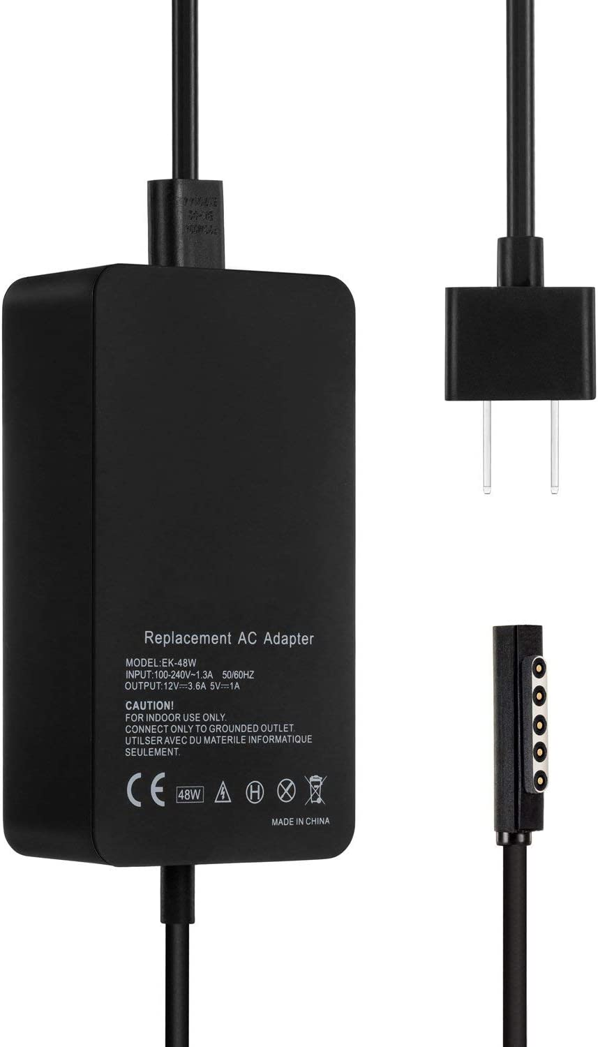 Surface Pro 2 Pro 1 Charger, E EGOWAY 48W 12V 3.6A Surface Power Adapter Charger Compatible for Surface Pro 2 Pro 1 Surface RT with USB Charging Port