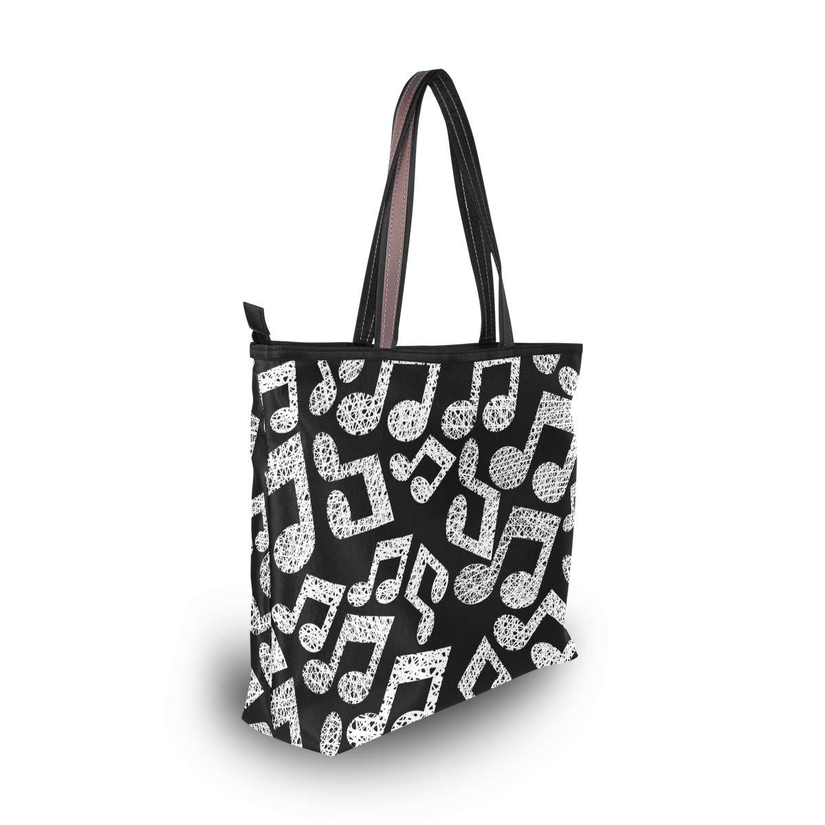 Tote Bag Black And White Music Note Handbag Satchel with Shoulder Length Handles for Women
