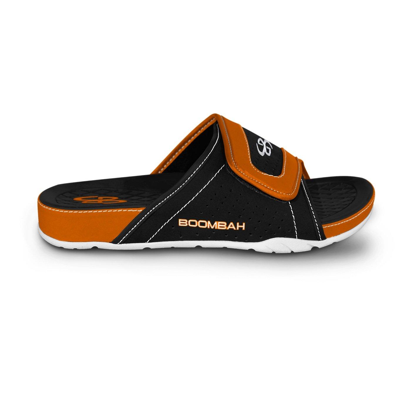 Boombah Men's Tyrant Slide Sandals - 32 Color Options - Multiple Sizes B077NQW3L7 8|Black/Orange