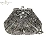 Mary Frances Swing 'N Sway Handbag Silver Pewter Beaded Bag