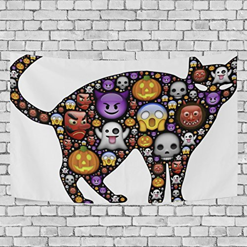 WIHVE Tapestry Halloween Black Cat Emoticons Wall Hanging